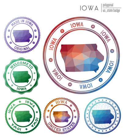 Iowa badge. Colorful polygonal us state symbol. Multicolored geometric Iowa set. Vector illustration.