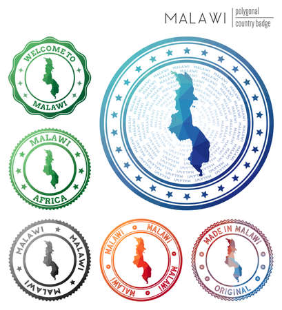 Malawi badge. Colorful polygonal country symbol. Multicolored geometric Malawi set. Vector illustration.