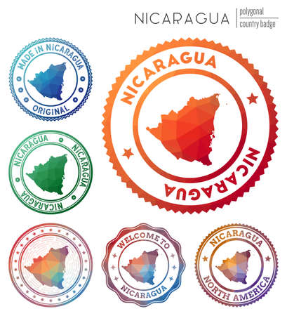 Nicaragua badge. Colorful polygonal country symbol. Multicolored geometric Nicaragua set. Vector illustration.