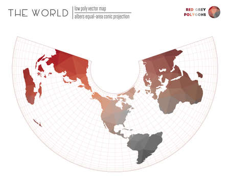 Abstract geometric world map. Albers equal-area conic projection of the world. Red Grey colored polygons. Contemporary vector illustration.