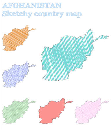 Afghanistan sketchy country. Actual hand drawn country. Admirable childish style Afghanistan vector illustration. Illusztráció