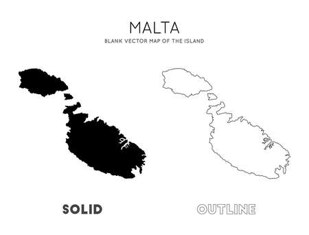 Malta map. Blank vector map of the Island. Borders of Malta for your infographic. Vector illustration.