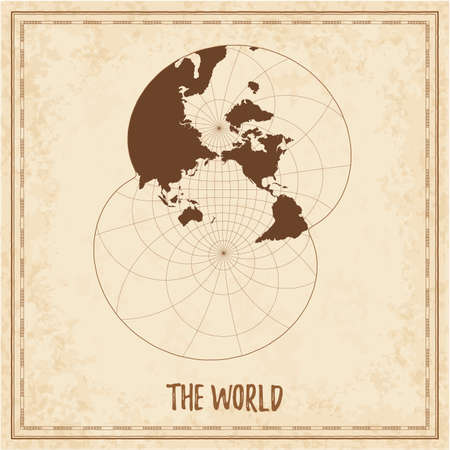 Old world map. Modified stereographic projection for the Pacific ocean. Medieval style treasure map. Ancient land navigation atlas. Vector illustration. Illustration