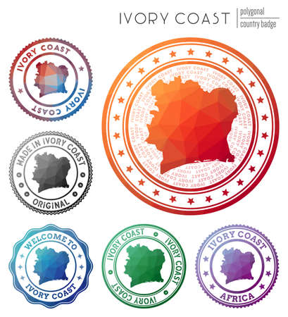 Ivory Coast badge. Colorful polygonal country symbol. Multicolored geometric Ivory Coast logos set. Vector illustration.