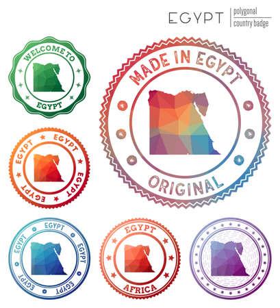 Egypt badge. Colorful polygonal country symbol. Multicolored geometric Egypt logos set. Vector illustration.