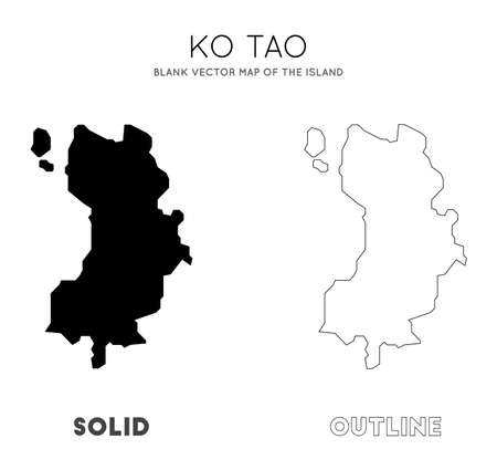 Ko Tao map. Blank vector map of the Island. Borders of Ko Tao for your infographic. Vector illustration.