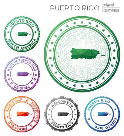 Puerto Rico badge. Colorful polygonal country symbol. Multicolored geometric Puerto Rico logos set. Vector illustration. Stock Illustratie