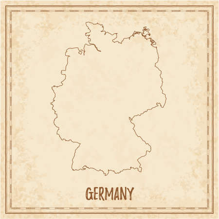 Pirate map of Germany. Blank vector map of the Country. Vector illustration. Illusztráció