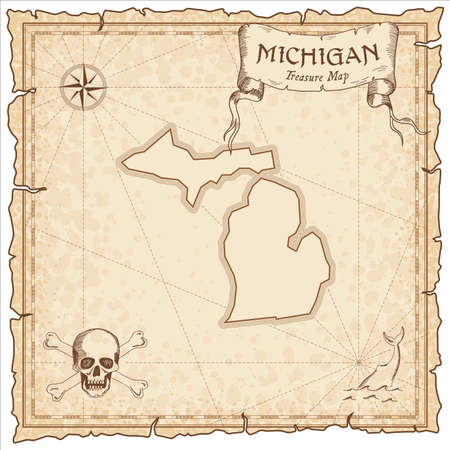 Michigan pirate map. Ancient style map template. Old us state borders. Vector illustration.