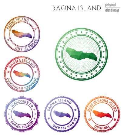 Saona Island badge. Colorful polygonal island symbol. Multicolored geometric Saona Island logos set. Vector illustration.