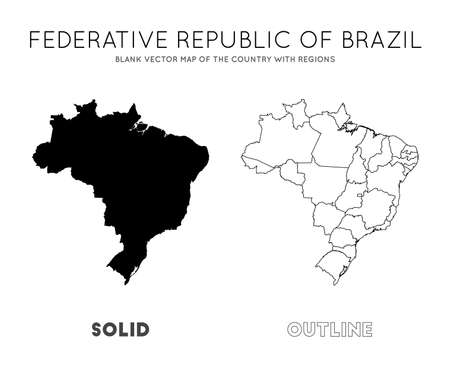 Brazil map. Blank vector map of the Country with regions. Borders of Brazil for your infographic. Vector illustration. Иллюстрация