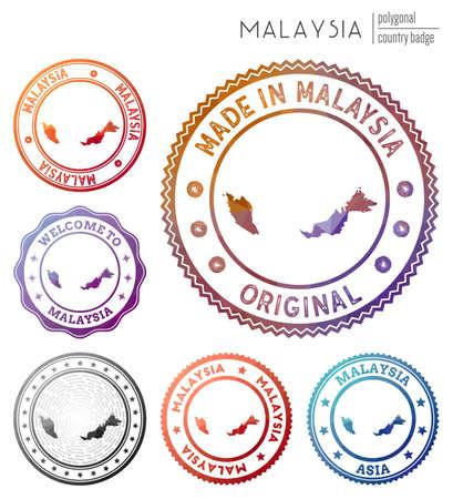 Malaysia badge. Colorful polygonal country symbol. Multicolored geometric Malaysia logos set. Vector illustration.