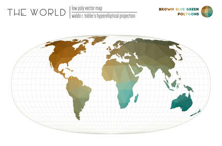 Low poly world map. Waldo R. Tobler's hyperelliptical projection of the world. Brown Blue Green colored polygons. Elegant vector illustration.