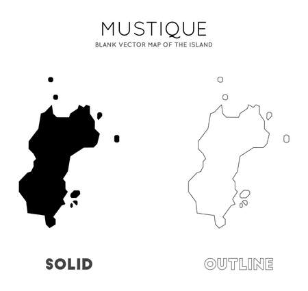 Mustique map. Blank vector map of the Island. Borders of Mustique for your infographic. Vector illustration.