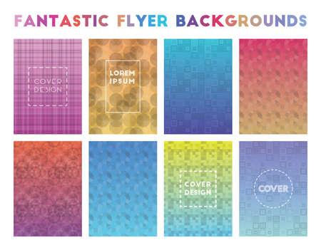 Fantastic Flyer Backgrounds. Actual geometric patterns. Gorgeous vector illustration.