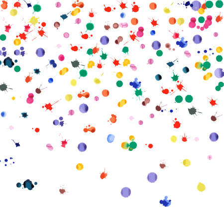 Watercolor confetti on white background. Rainbow colored blobs square gradient. Colorful bright hand painted illustration. Happy celebration party background. Beauteous vector illustration.