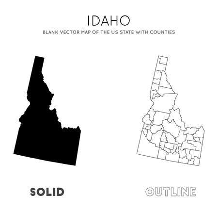 Idaho map. Blank vector map of the Us State with counties. Borders of Idaho for your infographic. Vector illustration.