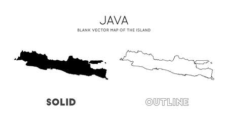 Java map. Blank vector map of the Island. Borders of Java for your infographic. Vector illustration.