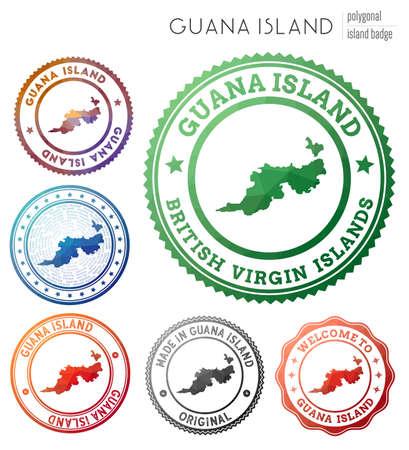 Guana Island badge. Colorful polygonal island symbol. Multicolored geometric Guana Island logos set. Vector illustration. Stock Illustratie