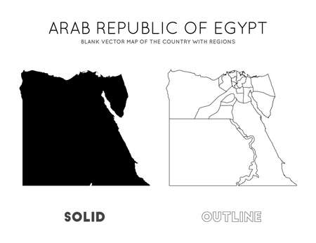 Egypt map. Blank vector map of the Country with regions. Borders of Egypt for your infographic. Vector illustration. Фото со стока - 130686982