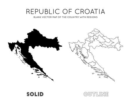 Croatia map. Blank vector map of the Country with regions. Borders of Croatia for your infographic. Vector illustration.
