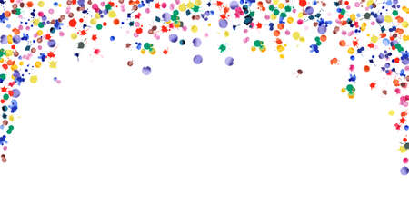 Watercolor confetti on white background. Rainbow colored blobs wide falling rain. Colorful bright hand painted illustration. Happy celebration party background. Original vector illustration. Illustration