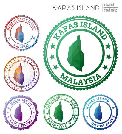 Kapas Island badge. Colorful polygonal island symbol. Multicolored geometric Kapas Island logos set. Vector illustration.