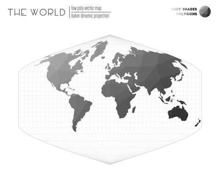 Low poly world map. Baker Dinomic projection of the world. Grey Shades colored polygons. Amazing vector illustration.