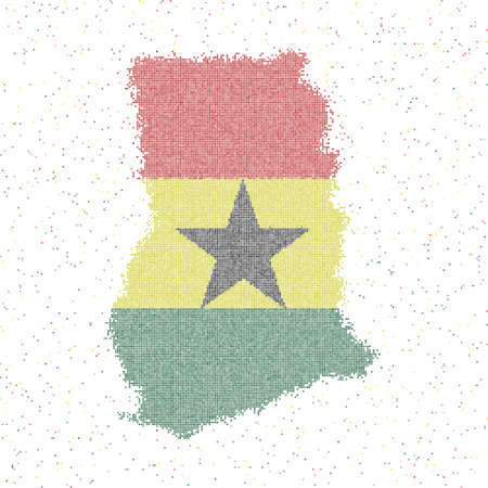 Map of Ghana. Mosaic style map with flag of Ghana. Vector illustration.