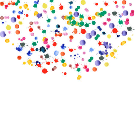 Watercolor confetti on white background. Rainbow colored blobs square semicircle. Colorful bright hand painted illustration. Happy celebration party background. Cool vector illustration. Stock fotó - 130687034