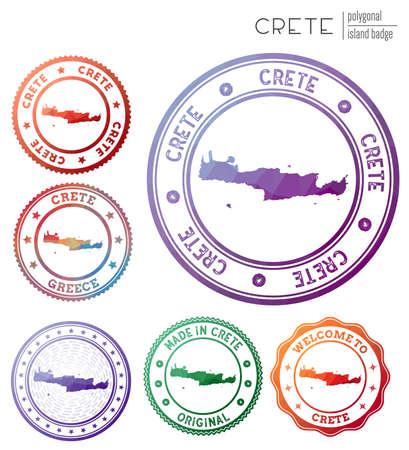 Crete badge. Colorful polygonal island symbol. Multicolored geometric Crete logos set. Vector illustration.