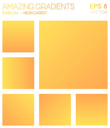 Colorful gradients in sunglow, neon carrot color tones. Actual gradient background, astonishing vector illustration.