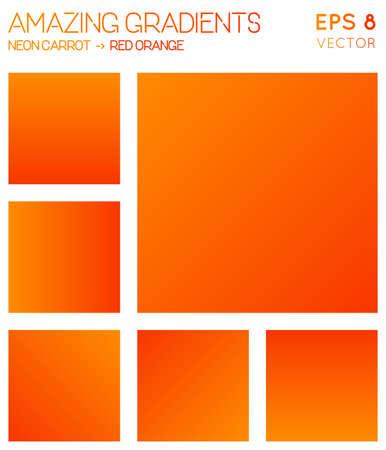 Colorful gradients in neon carrot, red orange color tones. Actual gradient background, trending vector illustration.