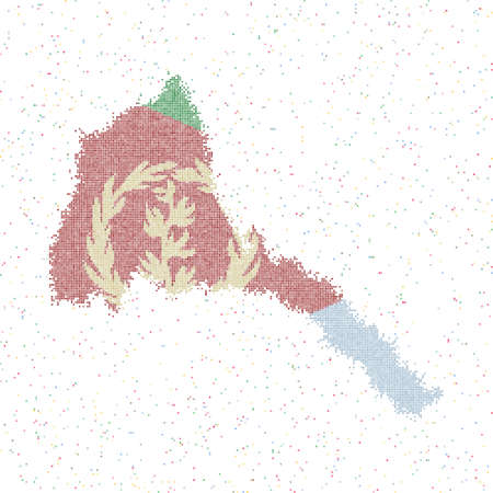 Map of Eritrea. Mosaic style map with flag of Eritrea. Vector illustration.