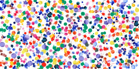 Watercolor confetti on white background. Rainbow colored blobs wide pattern. Colorful bright hand painted illustration. Happy celebration party background. Appealing vector illustration. Illusztráció