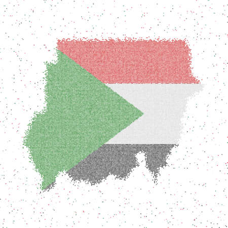 Map of Sudan. Mosaic style map with flag of Sudan. Vector illustration.