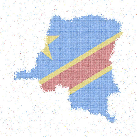 Map of DR Congo. Mosaic style map with flag of DR Congo. Vector illustration. 일러스트