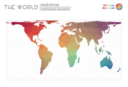 Vector map of the world. Cylindrical equal-area projection of the world. Spectral colored polygons. Awesome vector illustration.