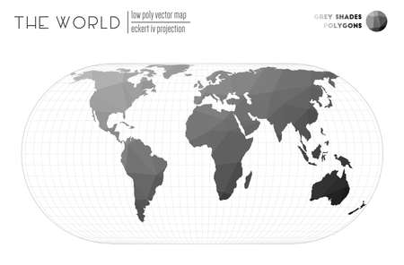 Abstract world map. Eckert IV projection of the world. Grey Shades colored polygons. Contemporary vector illustration.