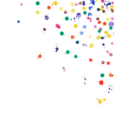 Watercolor confetti on white background. Rainbow colored blobs square corner. Colorful bright hand painted illustration. Happy celebration party background. Fancy vector illustration. Stock fotó - 130687134