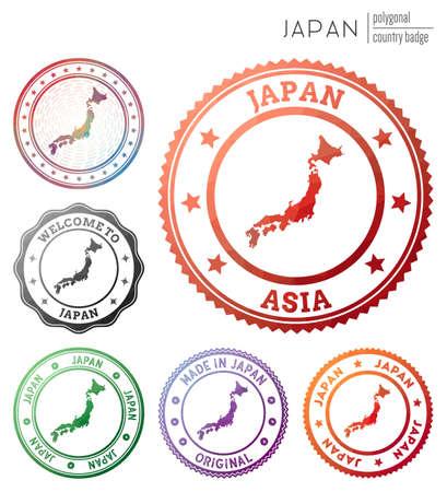 Japan badge. Colorful polygonal country symbol. Multicolored geometric Japan logos set. Vector illustration. 일러스트