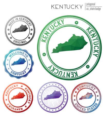Kentucky badge. Colorful polygonal us state symbol. Multicolored geometric Kentucky logos set. Vector illustration. Illustration