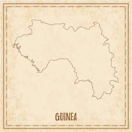 Pirate map of Guinea. Blank vector map of the Country. Vector illustration. 일러스트
