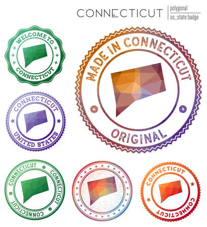 Connecticut badge. Colorful polygonal us state symbol. Multicolored geometric Connecticut logos set. Vector illustration.