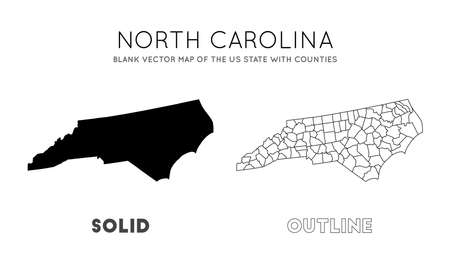North Carolina map. Blank vector map of the Us State with counties. Borders of North Carolina for your infographic. Vector illustration.