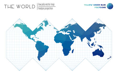 Abstract world map. HEALPix projection of the world. Yellow Green Blue colored polygons. Energetic vector illustration.