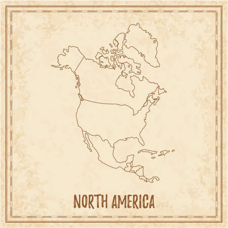 Pirate map of North America. Blank vector map of the Continent with countries. Vector illustration.