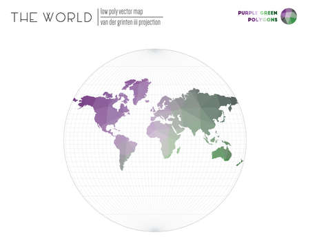 World map in polygonal style. Van der Grinten III projection of the world. Purple Green colored polygons. Beautiful vector illustration.