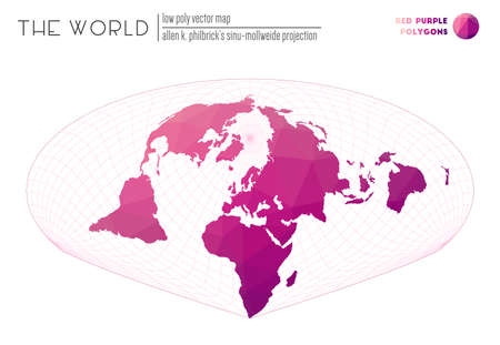 Low poly design of the world. Allen K. Philbricks Sinu-Mollweide projection of the world. Red Purple colored polygons. Contemporary vector illustration.