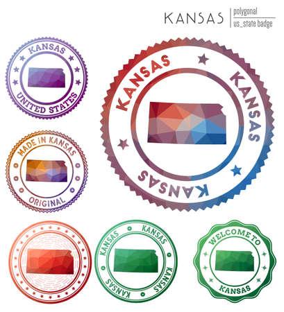 Kansas badge. Colorful polygonal us state symbol. Multicolored geometric Kansas logos set. Vector illustration.